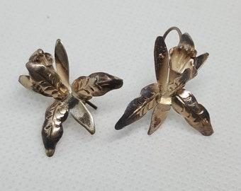 Sterling silver Orchid Earrings