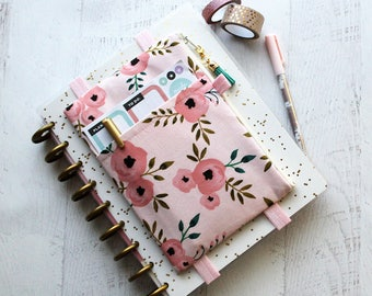 Floral planner bag - life planner cover - monthly planner - pink pencil pouch - gifts for her - floral planner band - pouch
