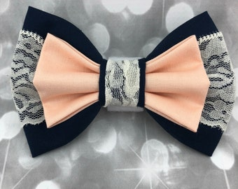 Navy Dusty Peach Ivory Lace Bridal Collection Wedding Ring Bearer Large Pet Dog Cat Bow / Bow Tie