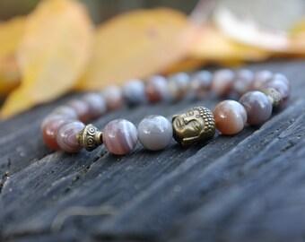 Bracelet tibetain en Agate du Bostwana
