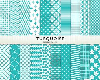 Turquoise Digital Paper - Scrapbooking -  Instant Download & Printable G7614
