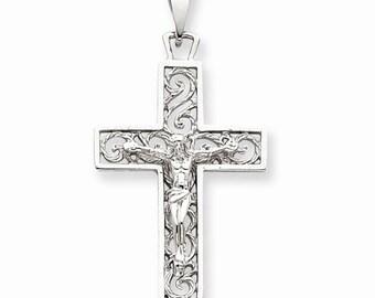 14K White Gold Crucifix Cross Pendant Charm LKQC2803