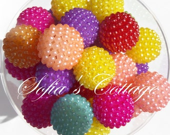 20mm 10CT Multi Colored Berry Beads, G1