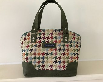 Tweed handbag perfect for your everyday style , handbags, purse , cork accents and dogtooth check