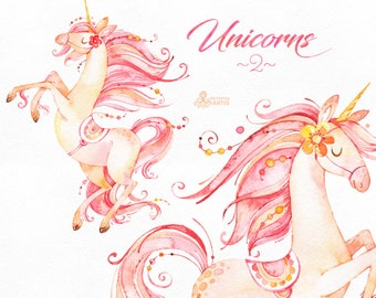 Unicorns 2. Magical Watercolor Clipart. Fairytale, fantasy, gold, horse, princess, pink, girl, invitation, sticker, mystical, romantic