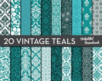 """Teal Blue Green Floral Digital Paper """"20 VINTAGE TEALS"""" with 20 teal blue green floral damask digital papers for scrapbooking, cards, prints"""