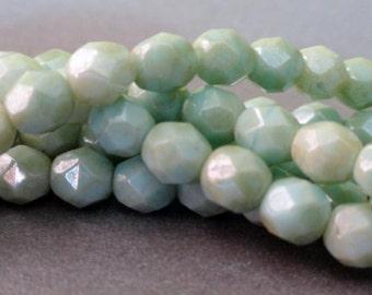 6mm Pale Green Star Dust Fire Polished Beads - Czech Glass - LAST ONE