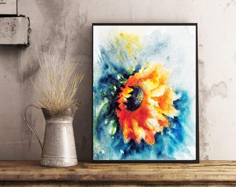 Sunflower watercolor painting, Sunflower Print, Art print, Floral Watercolor art, Sunflower wall art, Fall Sunflowers