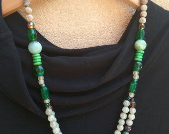 Unique Necklace with Jade stones, Marble beads and Glass beads