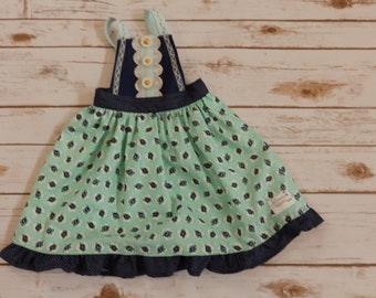 Mint and Navy 2T Pinafore Dress
