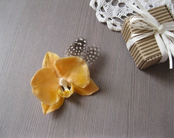 Peach bridesmaid hair piece Peach wedding hair flower Peach flower hair clip Orchid hair pin Retro hair flower Feather hair clip for wedding