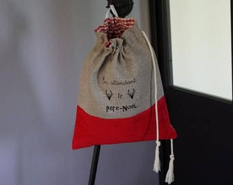 Bag personalized pouch natural linen and red velvet for Christmas