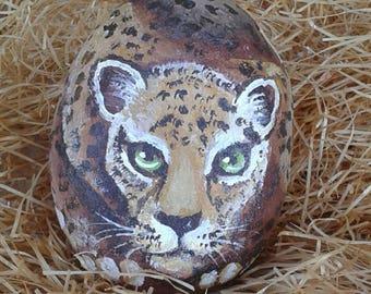 Jaguar painted on River Stone