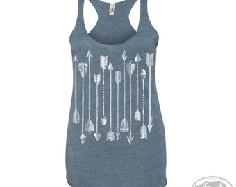 Women's ARROWS Collection -hand screen printed Tri-Blend Racerback Tank Top xs s m l xl xxl  (+Colors) workout