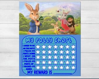 Peter rabbit potty chart,potty training chart,children's potty reward chart,boy's potty training chart,girl's potty training chart,