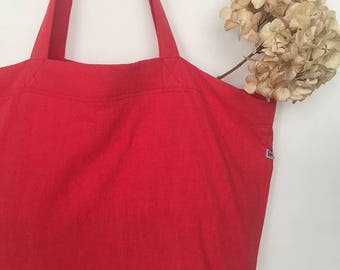 Tote red linen with an inside zip pocket and snap hook key / Stone washed linen tote bag / Gift for her