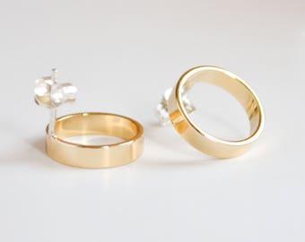 Circle Gold Stud Earrings - Classic Open Circle Studs - Simple Hoop Earings - Geometric Jewelry - Cocktail Earrings - Hook & Matter Handmade