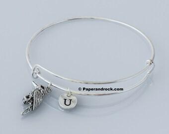 KIDS SIZE - Kingfisher initial bangle - Kingfisher jewelry, bird jewelry, Kingfisher bangle,Kingfisher initial bracelet