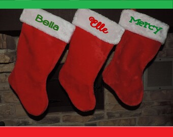 Personalized Embroidered Christmas Stockings - Soft, Beautiful Plush
