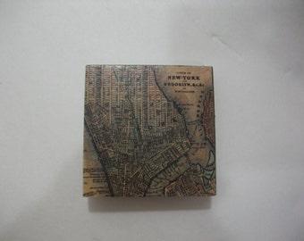 Fridge Magnets  /  New York City Vintage Map Magnet  /  Refrigerator Magnets  / Magnet for Home, School, or Office