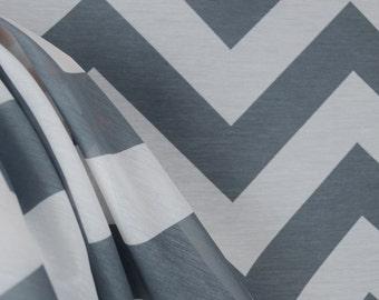 Grey Chevron Sheer Fabric