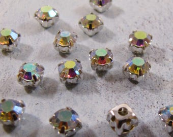 Chaton Montees - Crystal AB (3mm, 4mm or 5mm)