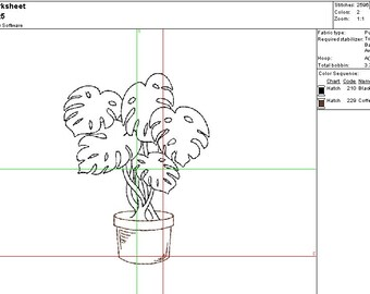 Philodendron outline, potted plant Machine Embroidery Design - Instant Digital Download