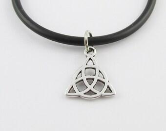 Celtic Trinity Knot Charm Pendant  Necklace Black Cord