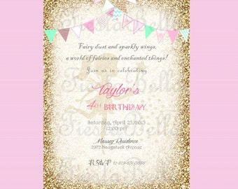 Fairy birthday invitation, mint, green, pink, gold, gold bunting. Fairy invitation.Woodland fairy, Garden fairy. Garden party invitation
