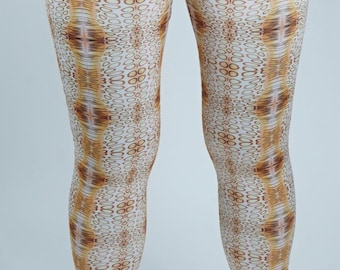 4 way stretch lycra leggings shown in custom fabric inspired by the Flamingo Tongue Snail