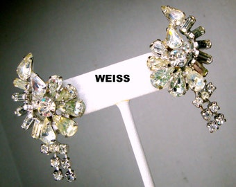 WEISS Signed GLAM Rhinestone Clip Earrings, 1960s Hollywood,  Clear Glass Faceted Stones on Silver