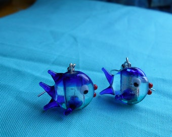 Hand Blown Glass Fish Earrings