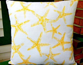 Yellow Nautical Decorative Throw Pillow Coastal Cushion COVERS Yellow White Starfish Beach Pillow All SIZES One or More Couch Pillow Cottage