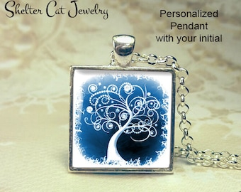 "Tree of Life Necklace - White and Blue - 1"" Square Pendant or Key Ring - Handmade Wearable Photo Art Jewelry - Picture Gift - Nature"