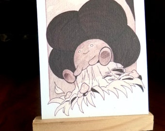Original illustration matte print ACEO 3.5 x 2.5, home decor, pokemon, collectible art, unique art, textured paper, Vileplume