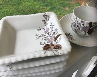 Antique Austrian Tea Set.  Antique Dessert Set.  Antique China Tea and Dessert Set. Antique Crocus Flower Dessert Set.