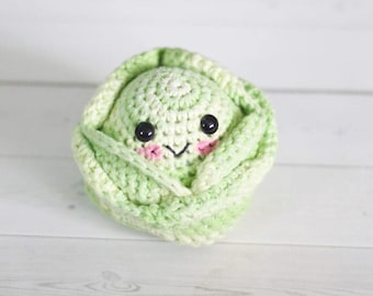 Cabbage play food - amigurumi style crochet toy vegetable - easter basket gift