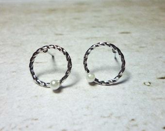 Twist Hoop Stud Earrings, Dainty Earrings