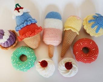 Amigurumi/food/Sweets/Children/Candy/Pretend/play/food/Crochet cake/Toy/Sweet/Kitchen/game/Chocolate/Dessert/handmade/Cake with cream