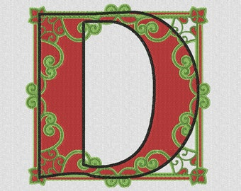 Monogrammed machine embroidery letter D ornament