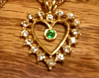 Rhinestone Heart Pendant Necklace, Valentines Day,Her,Center Green Rhinestone,Heart Necklace, Jewelry,For Her, Accessories, Vintage Necklace