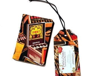 Set of Passport cover and luggage tag - Cigar boxes - aficionado cigars - ready to ship  - Travel gift ideas - Gift for him - birthday gift