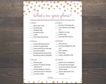 Pink and Gold, Baby Shower Games, Whats on your phone, Printable, Girl Baby Shower, Pink Baby Phone Game, Whats in your phone game, S006