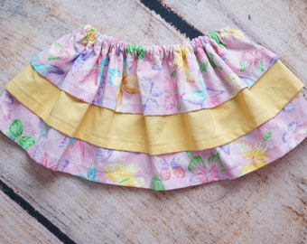 Butterfly Skirt, Tiered Skirt, Pink Yellow Skirt, Elastic Waist Skirt, First Birthday Outfit, Baby Ruffle Skirt, Toddler Girl Clothing