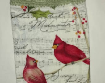 A Pair of Cardinals Hanging Kitchen Towel with Universal Hang