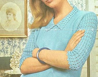 9829P Ladies  jumper  crochet vintage pattern PDF instant download