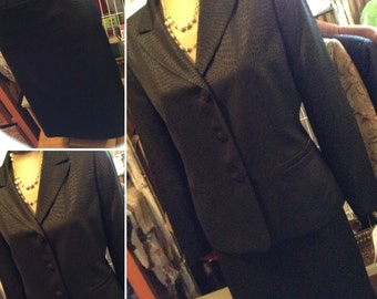 Vintage 80s black ladies suit with bling buttons size 12 free domestic shipping perfect for mother of the bride