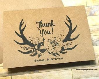 Rustic Thank You Cards - Personalized Antler Kraft Country Wedding Thank You Note Cards - Wedding Stationery - Flower Antlers DM170