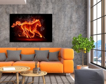 Fire Horse - Animal Canvas Print Wall Art / Stretched or Rolled / Available in 1, 3, and 5 Panel Versions