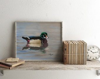 Wood duck art print. Original painting wildlife art.